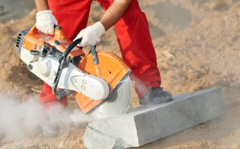 10816019 - builder at cutting curb work